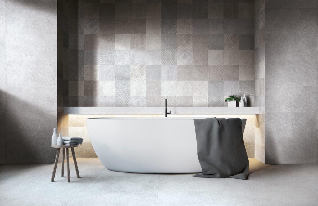 Gris moyen bathroom. Sight Line Frassinoro Ceramiche